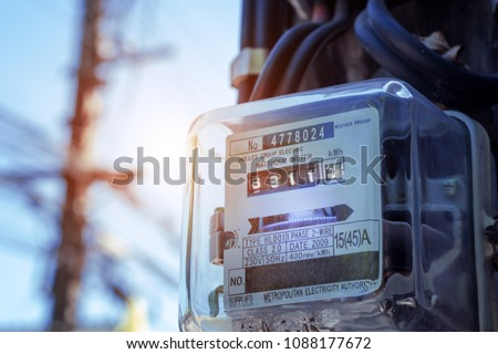 Watthour meter of electricity for use in home appliance.This is a modern technology that can monitor the home's electrical energy consumption.Electronics stock photo