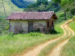 Wattle and daub rustic house in Brazil countryside area
