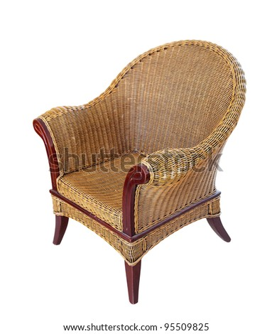 wattled armchair. Isolated over white background