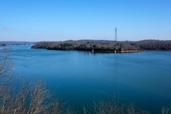 Watts Bar Lake above Watts Bar Dam in Tennessee, USA.