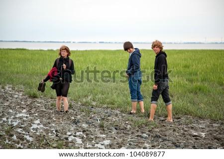 Watts walking in the North Sea - stock photo