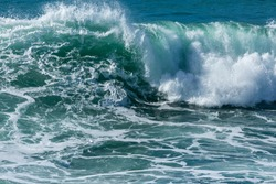 Wave Breaking on Fistral beach, North Cornwall Coastline, Newquay, UK
