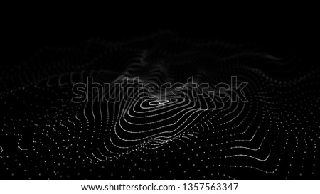 Wave 3d. Wave of particles. 3D glowing abstract digital particles background. Data technology illustration. Big data visualization. 3d rendering. #1357563347