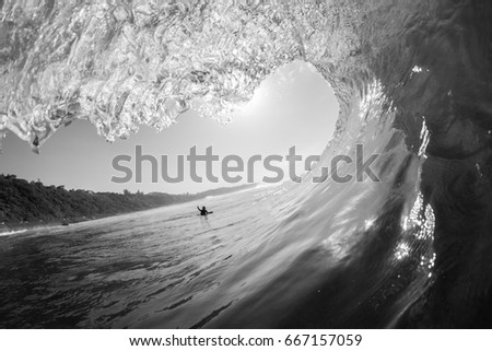 Wave Inside Surfing Encounter Wave inside hollow tube ride surfing view inside out encounters  ocean black and white photo