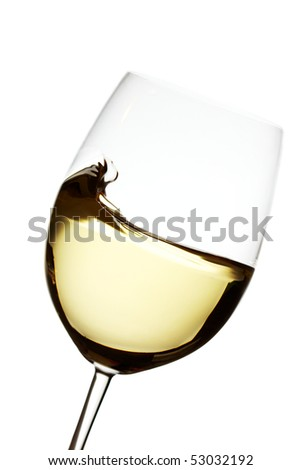Wave into a white wine glass over white backround backlighted