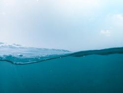wave marine view half sky half water