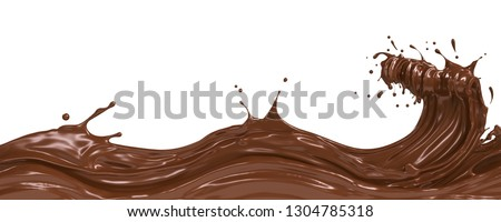 wave of dark Chocolate or Cocoa splash, Abstract background, 3D illustration.