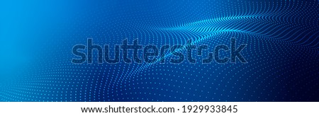 Wave of particles on dark background. Technology backdrop. Pattern for presentations. 3d