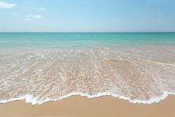 Wave of the sea on the sand beach, summer sand beach