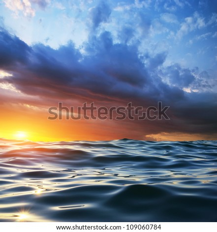 Wave on sunset. Nature composition. Element of design. #109060784