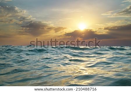 Wave on sunset. Nature composition. Element of design. #210488716