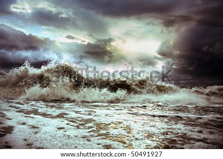 wave on the background of the majestic sky (photo)