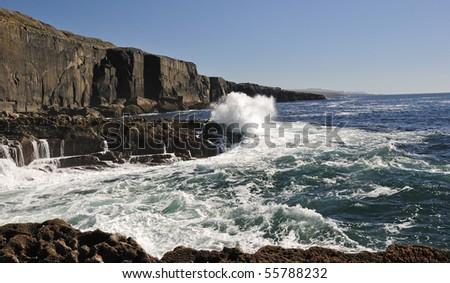 Wave power on Irish cliffs coast