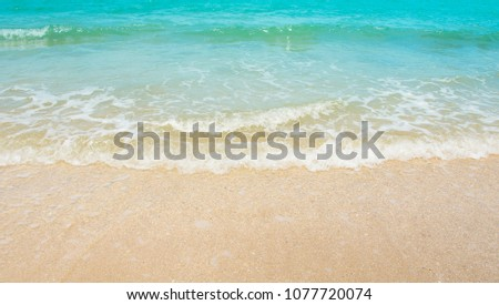 Wave & Sand beach background , holiday or relax in summer concept.  #1077720074