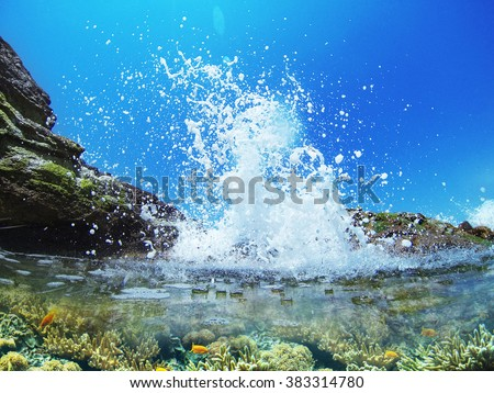 Wave splash in the ocean against beach reef / Wave splash #383314780
