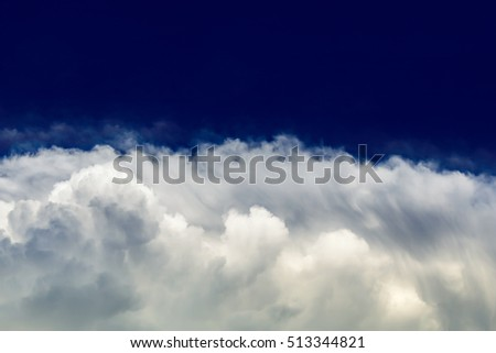 Wave white cloud in deep blue sky,weather variant