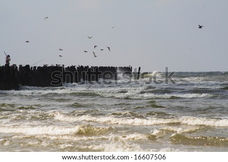 Waved Baltic sea with ruins of old wooden bridge(Sventoji,Lithuania)