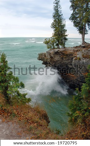 Waves along the rocky coast of Lake Michigan