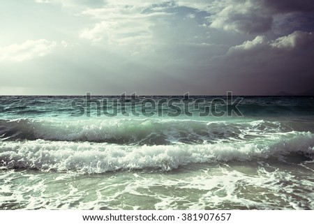 waves at Seychelles beach #381907657