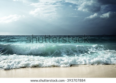 waves at Seychelles beach #393707884