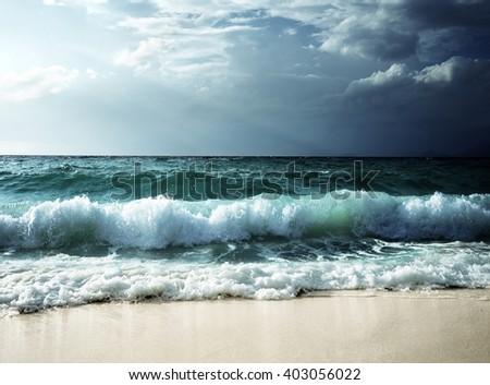 waves at Seychelles beach #403056022