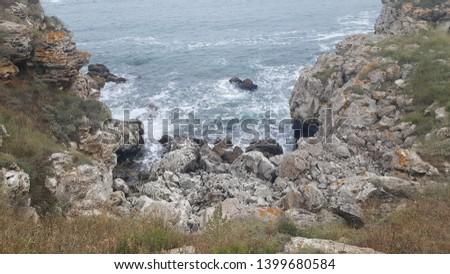 waves breaking in little bay of Bulgarian Black Sea coast