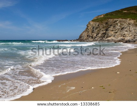 Waves breaking on Porthtowan beach.