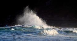 Waves crashing at the seaside