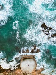 Waves crashing in Victoria Beach in Laguna Beach