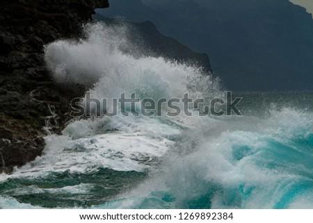 Waves crashing on the headlands on the north shore of Kauai, Hawaii. #1269892384