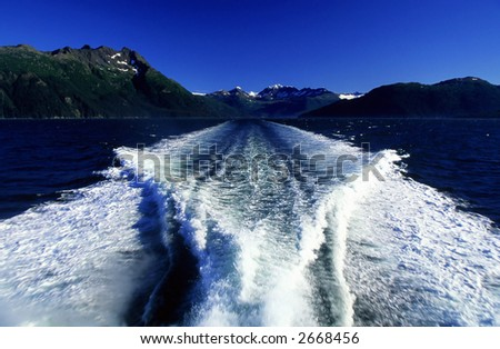 Waves from a speed boat.