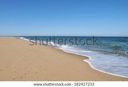 Waves from the receding tide lap the sand at Race Beach on Cape Cod
