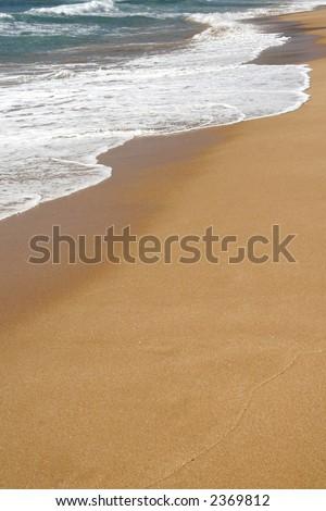 Waves Hitting An Empty Sand Beach At The Pacific Coast, Sydney, Australia