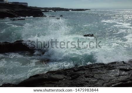 Waves hitting rocks, splash of waves #1475983844