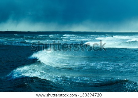 Waves in storm, Baltic sea.