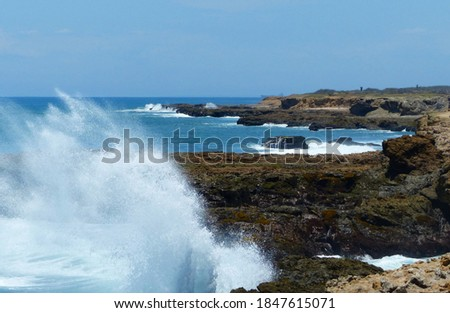 Waves of the Pacific Ocean crashing against the rock at La Chocolatera. Santa Elena province, Salinas, Ecuador Stok fotoğraf ©