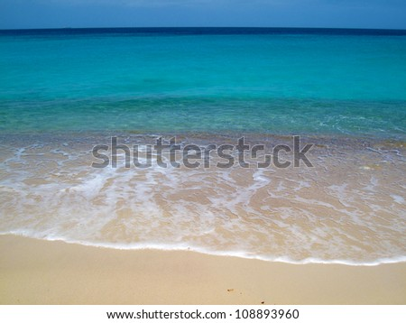 waves on tropical Caribbean beach, slide 4