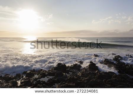 Waves Rocky Coast\ Ocean wave water crashing  energy power along rocky coast