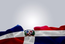 waving abstract fabric Dominican Republic flag on Gray background
