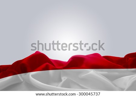 waving abstract fabric Indonesia flag on Gray background #300045737