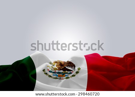waving abstract fabric Mexico flag on Gray background #298460720