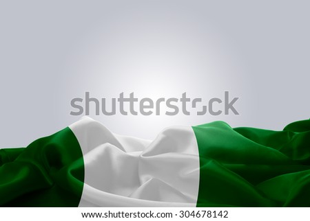 waving abstract fabric Nigeria flag on Gray background #304678142