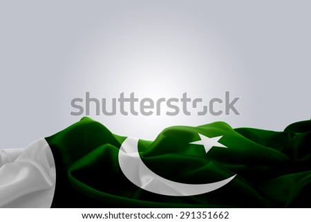 waving abstract fabric Pakistan flag on Gray background #291351662
