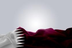 waving abstract fabric Qatar flag on Gray background