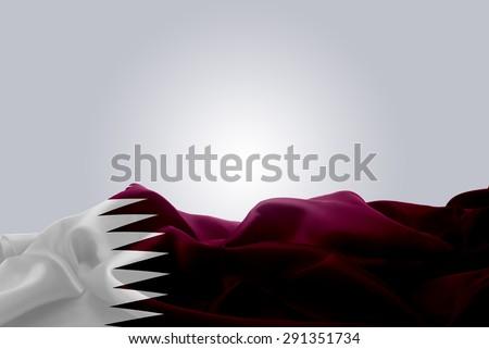 waving abstract fabric Qatar flag on Gray background #291351734