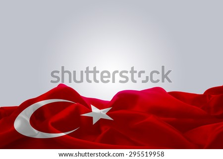 waving abstract fabric Turkey flag on Gray background #295519958