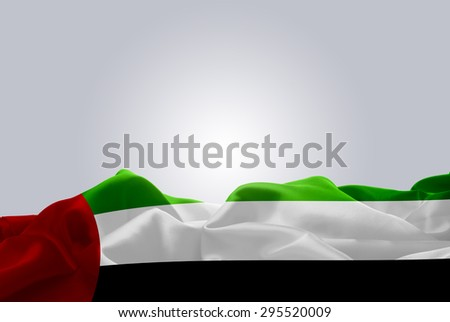 waving abstract fabric UAE flag on Gray background #295520009