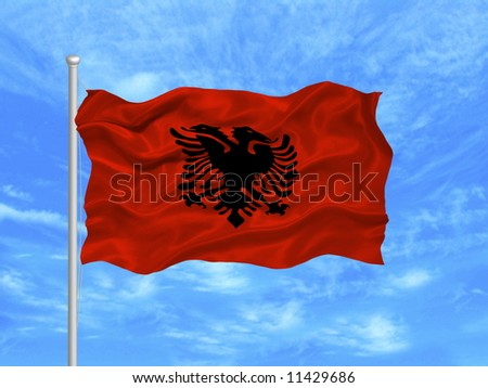 Albanian Flag Waving Waving Albanian Flag on Blue