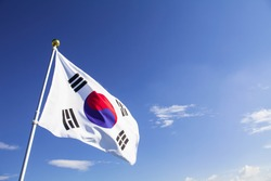 Waving at the sky of korean flag