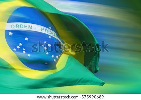 Waving brazilian flag for background